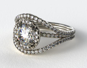 14K White Gold Pave Halo Engagement Ring with a Pave Split Band Design