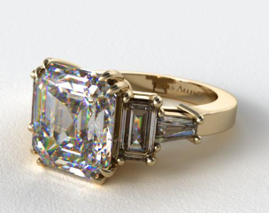 18K Yellow Gold Double Claw Prong Engagement Ring with Stunning Baguette Accents