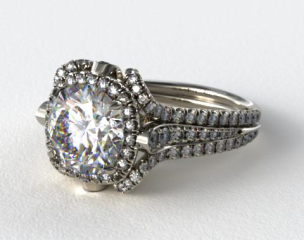 14K White Gold Split Shank Pave Halo with Pave Diamond Details