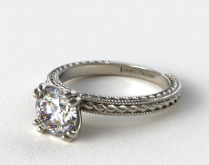 18K White Gold Etched Rope Solitaire Engagement Ring