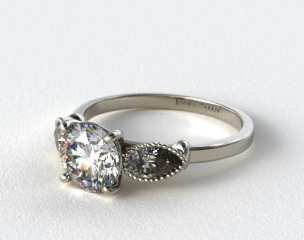 Platinum Vintage Fluted Pear Engagement Ring