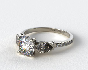 Platinum Fanciful Fluted Pear Pave Engagement Ring