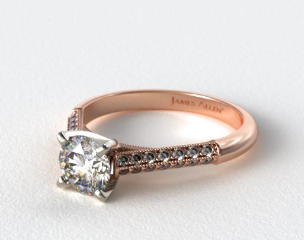 14K Rose Gold Pave Knife Edge Cathedral Diamond Engagement Ring
