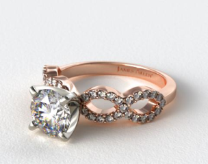 14K Rose Gold Pave Infinity Diamond Engagement Ring