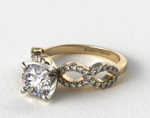 18K Yellow Gold Pave Infinity Diamond Engagement Ring