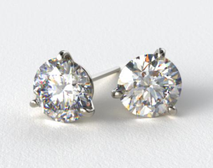 Platinum 1/2ctw Three Prong Martini Round Brilliant Diamond Earrings