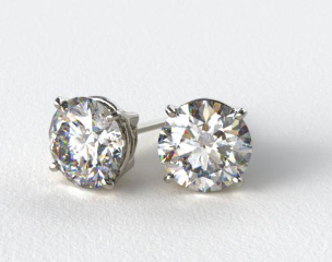 Platinum 1/2ctw Ladies Four Prong Round Brilliant Diamond Earrings