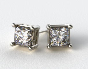 18K White Gold 1/4ctw Asscher Shaped Diamond Earrings