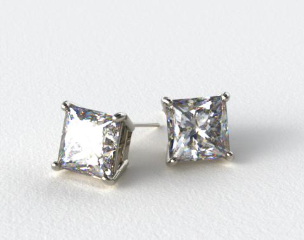 18k White Gold Princess Cut Stud Earring Settings