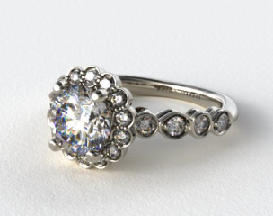 14K White Gold Diamond Floral Halo Engagment Ring