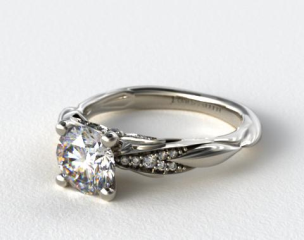 Platinum Single Drop Pave Wavy Engagement Ring