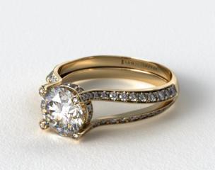 14k Yellow Gold 0.73ct Split Shank Pave Set Diamond Engagement Ring