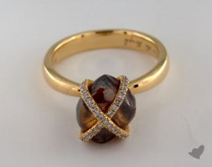 "18K Yellow Gold 6.12ct diamond ""Orielle ring"" featuring 0.19ctw in MicroPave diamonds"
