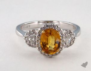 18K Two Tone 1.49ct  Oval Yellow Sapphire Ring