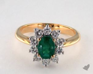 14k two tone - 0.84ct  - Green