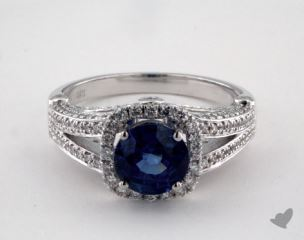 18K White Gold 1.76ct  Round Blue Sapphire Split Shank Ring