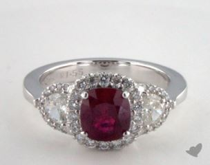 18K White Gold 1.55ct  Cushion Shape Three Stone Halo Ring