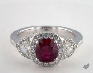 18K White Gold 1.55ct  Cushion Shape Three Stone Halo Ring