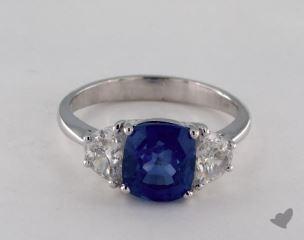Platinum 2.97ct  Cushion Shape Blue Sapphire Ring
