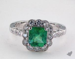 18K White Gold - 1.39ct  - Emerald - Green Emerald - Daniella Ring