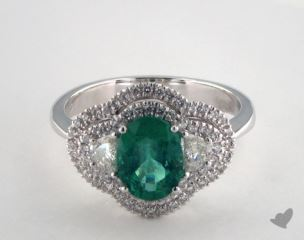 18K White Gold 1.30ct  Oval Shape Green Emerald Double Halo Ring