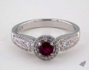 18K White Gold  0.30ct  Round Ruby Graduated Pave Ring