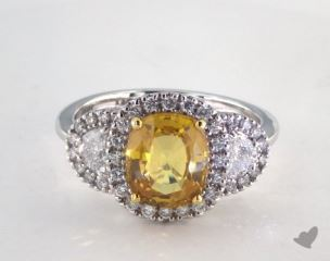 18K Two Tone 2.53ct  Cushion Shape Yellow Sapphire Ring