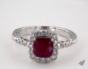 18K White Gold 1.15ct  Cushion Shape Ruby Scallop Halo Ring