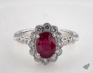 18K White Gold 1.40ct Oval Shape Ruby Scallop Halo Ring