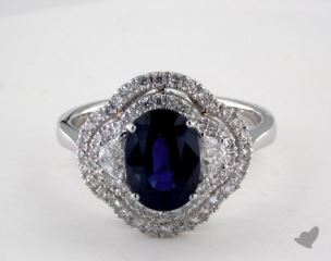 18K White Gold 2.27ct  Oval Shape Blue Sapphire Ring