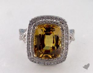 18K Two Tone 8.53ct  Oval Yellow Sapphire Double Halo Ring