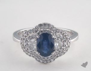 18K White Gold 0.88ct  Oval Shape Blue Sapphire Double Halo Ring