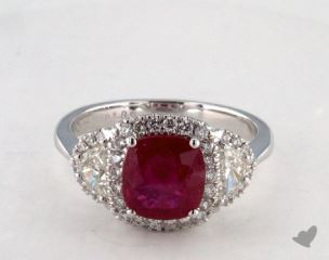 18K White Gold 1.89ct  Cushion Shape Ruby Ring