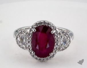 Platinum 4.01ct  Oval Shape Ruby Siren Ring