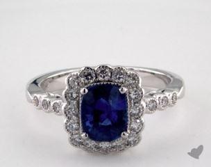 18K White Gold 1.29ct  Cushion Shape Blue Sapphire Scallop Halo Ring