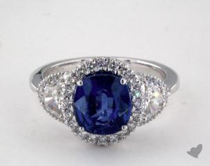 18K White Gold 3.12ct  Cushion Shape Blue Sapphire Ring