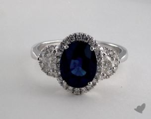 18K White Gold 2.59ct  Oval Shape Blue Sapphire Ring