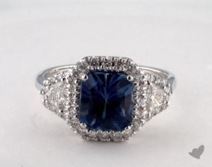 18K White Gold 2.89ct  Radiant  Shape Blue Sapphire Ring