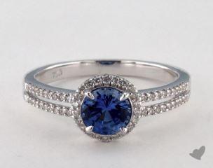 18K White Gold 0.75ct  Round Blue Sapphire Modern Halo Ring