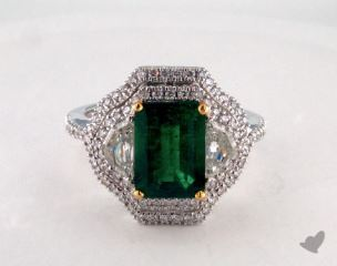 18K Two Tone 2.15ct  Green Emerald Three Stone Ring