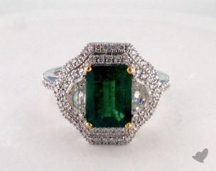 18K Two Tone 2.15ct  Green Emerald Three Stone Ring