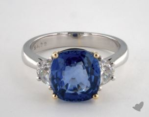 18K Yellow and Platinum 4.22ct  Cushion Shape Blue Sapphire Ring