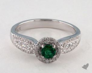 18K White Gold 0.24ct  Round Green Emerald  Pave Ring