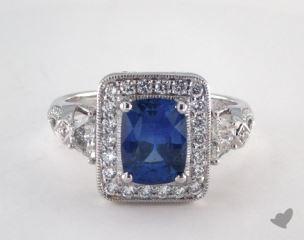 18K White Gold - 1.91ct Cushion- - Blue Sapphire - Cygnus Ring