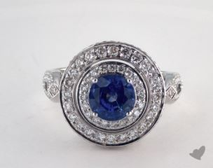 18K White Gold  1.63ct  Round Blue Sapphire Infinity Basket Ring