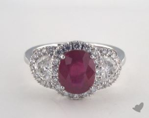 18K White Gold - 1.87ct  - Cushion - Ruby - Elisa Ring