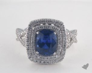 18K White Gold  2.42ct  Cushion Shape Blue Sapphire Double Halo Ring