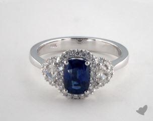 18K White Gold 1.11ct  Cushion Shape Blue Sapphire Ring