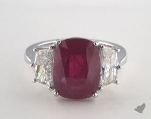 Platinum 5.74ct  Oval Shape Ruby Ring