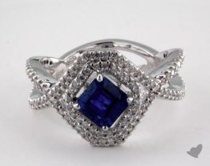 18K White Gold 1.20ct Asscher Shape Blue Sapphire Halo Frame Ring